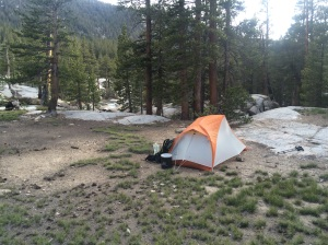 Fabulous new Big Agnes Copper Spur UL-1 just below McClure Meadow