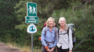 Jackie and Catwater heading into the trail
